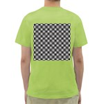 Modern Dots In Squares Mosaic Black White Green T-Shirt Back