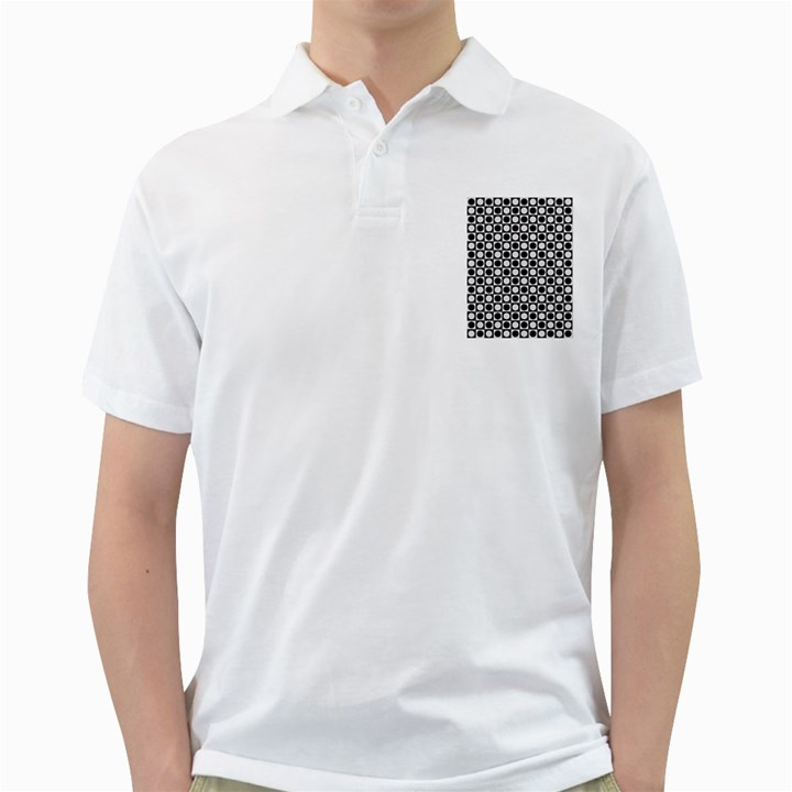 Modern Dots In Squares Mosaic Black White Golf Shirts