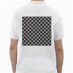 Modern Dots In Squares Mosaic Black White Golf Shirts Back