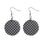 Modern Dots In Squares Mosaic Black White Mini Button Earrings Front