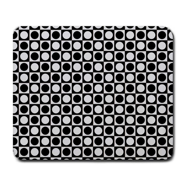 Modern Dots In Squares Mosaic Black White Large Mousepads