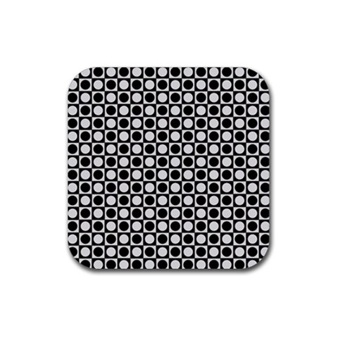 Modern Dots In Squares Mosaic Black White Rubber Square Coaster (4 pack)