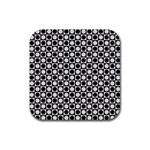 Modern Dots In Squares Mosaic Black White Rubber Square Coaster (4 pack)  Front