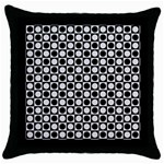 Modern Dots In Squares Mosaic Black White Throw Pillow Case (Black) Front