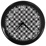 Modern Dots In Squares Mosaic Black White Wall Clocks (Black) Front
