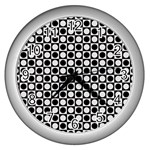 Modern Dots In Squares Mosaic Black White Wall Clocks (Silver)  Front