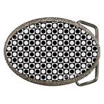 Modern Dots In Squares Mosaic Black White Belt Buckles Front