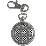 Modern Dots In Squares Mosaic Black White Key Chain Watches Front