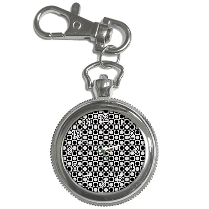 Modern Dots In Squares Mosaic Black White Key Chain Watches