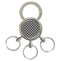 Modern Dots In Squares Mosaic Black White 3 Ring Key Chains