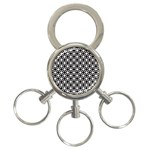 Modern Dots In Squares Mosaic Black White 3-Ring Key Chains Front