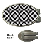 Modern Dots In Squares Mosaic Black White Money Clips (Oval)  Front