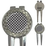 Modern Dots In Squares Mosaic Black White 3-in-1 Golf Divots Front
