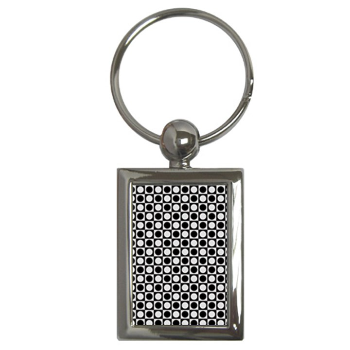Modern Dots In Squares Mosaic Black White Key Chains (Rectangle)