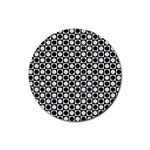 Modern Dots In Squares Mosaic Black White Rubber Coaster (Round)  Front