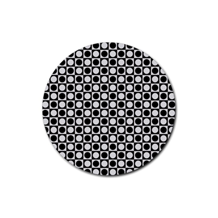 Modern Dots In Squares Mosaic Black White Rubber Round Coaster (4 pack)
