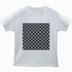 Modern Dots In Squares Mosaic Black White Kids White T-Shirts Front
