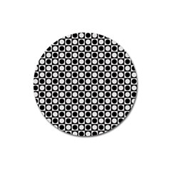 Modern Dots In Squares Mosaic Black White Magnet 3  (round)