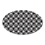 Modern Dots In Squares Mosaic Black White Oval Magnet Front