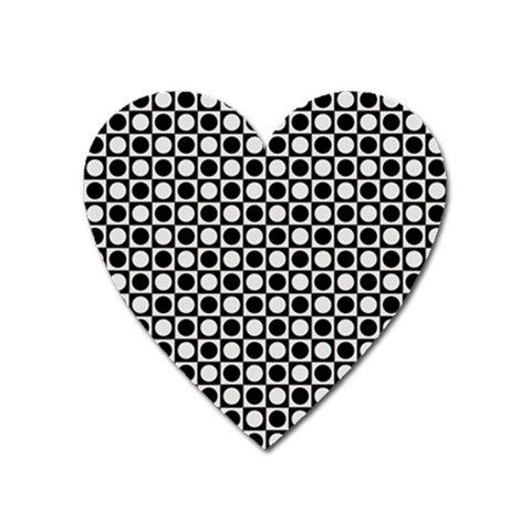 Modern Dots In Squares Mosaic Black White Heart Magnet