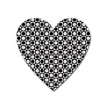 Modern Dots In Squares Mosaic Black White Heart Magnet Front