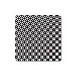 Modern Dots In Squares Mosaic Black White Square Magnet Front
