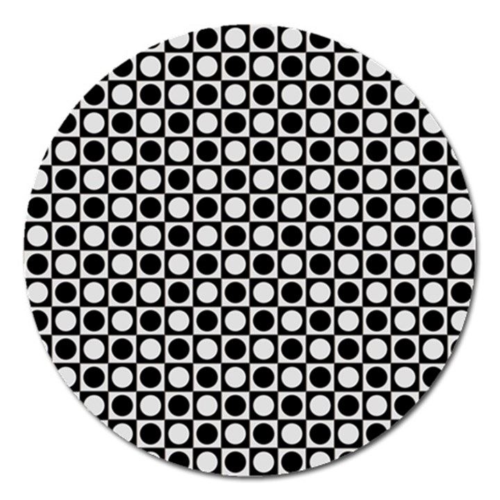 Modern Dots In Squares Mosaic Black White Magnet 5  (Round)