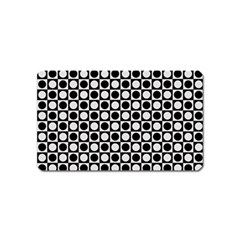 Modern Dots In Squares Mosaic Black White Magnet (Name Card)