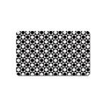 Modern Dots In Squares Mosaic Black White Magnet (Name Card) Front