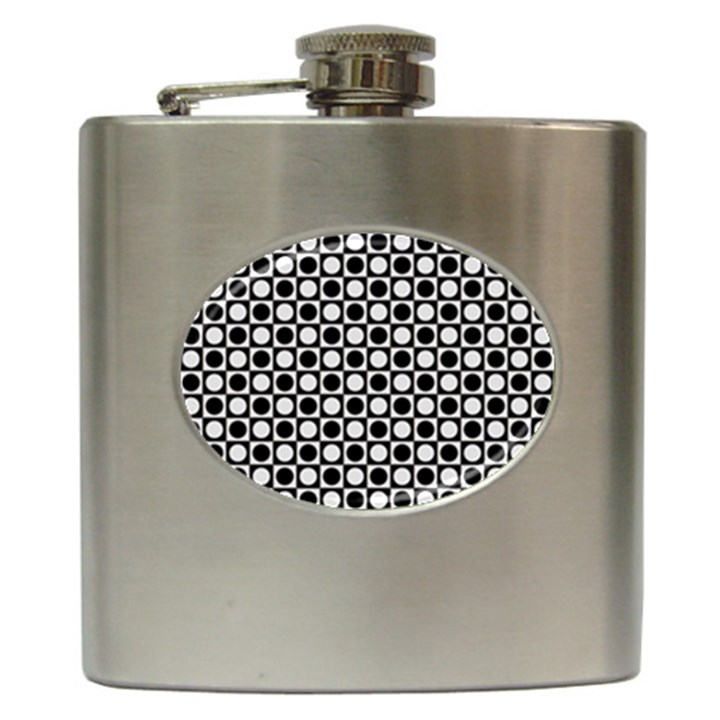 Modern Dots In Squares Mosaic Black White Hip Flask (6 oz)