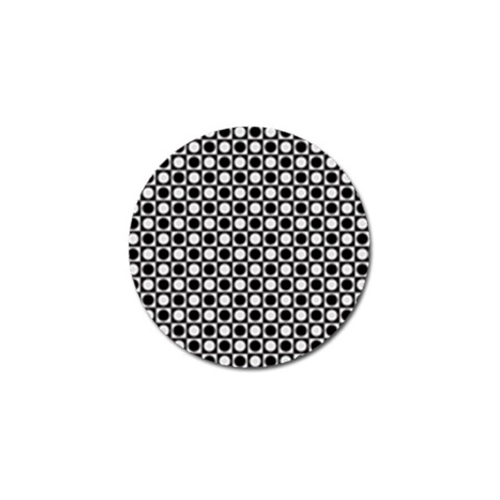 Modern Dots In Squares Mosaic Black White Golf Ball Marker