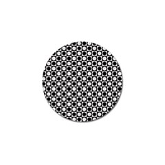 Modern Dots In Squares Mosaic Black White Golf Ball Marker (4 pack)