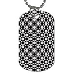 Modern Dots In Squares Mosaic Black White Dog Tag (Two Sides) Back