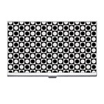 Modern Dots In Squares Mosaic Black White Business Card Holders Front
