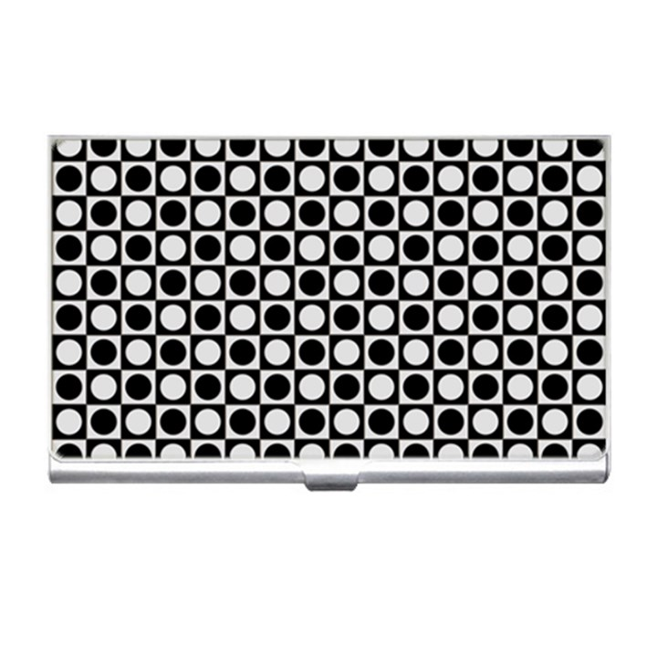 Modern Dots In Squares Mosaic Black White Business Card Holders