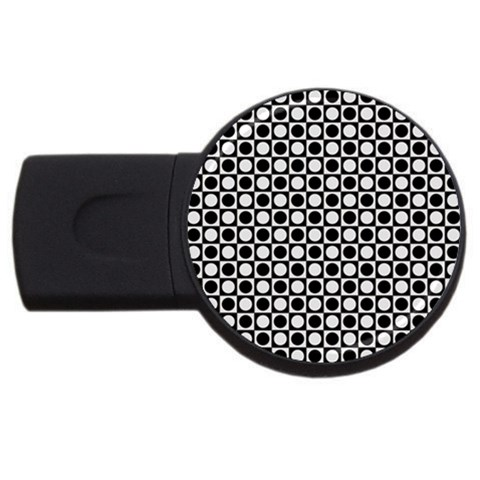 Modern Dots In Squares Mosaic Black White USB Flash Drive Round (2 GB)