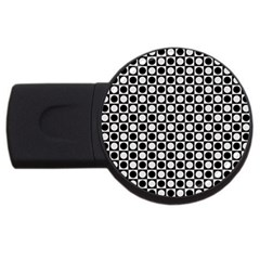 Modern Dots In Squares Mosaic Black White USB Flash Drive Round (1 GB)