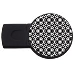 Modern Dots In Squares Mosaic Black White USB Flash Drive Round (1 GB)  Front