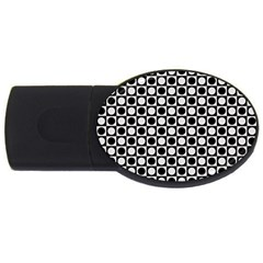 Modern Dots In Squares Mosaic Black White USB Flash Drive Oval (1 GB)