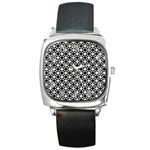 Modern Dots In Squares Mosaic Black White Square Metal Watch Front