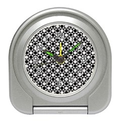 Modern Dots In Squares Mosaic Black White Travel Alarm Clocks