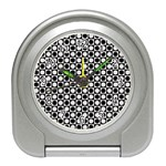 Modern Dots In Squares Mosaic Black White Travel Alarm Clocks Front