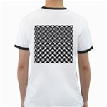 Modern Dots In Squares Mosaic Black White Ringer T-Shirts Back