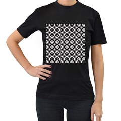 Modern Dots In Squares Mosaic Black White Women s T Shirt (black) (two Sided)