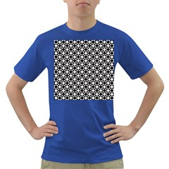 Modern Dots In Squares Mosaic Black White Dark T Shirt