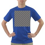 Modern Dots In Squares Mosaic Black White Dark T-Shirt Front