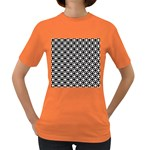 Modern Dots In Squares Mosaic Black White Women s Dark T-Shirt Front
