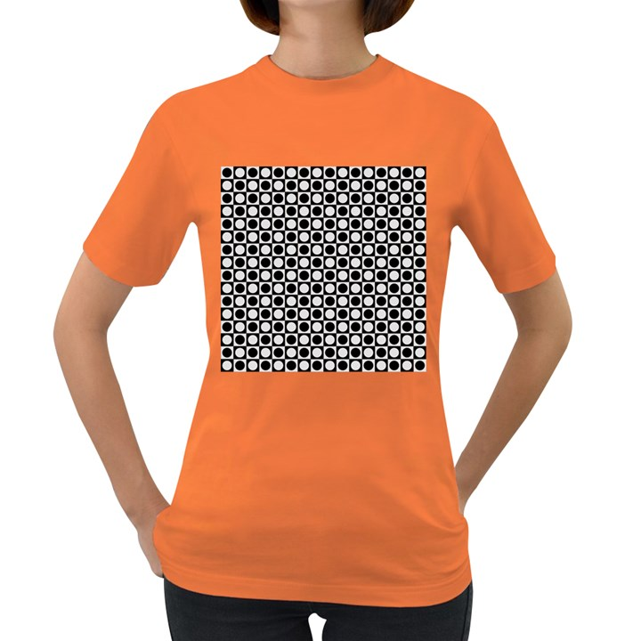 Modern Dots In Squares Mosaic Black White Women s Dark T-Shirt