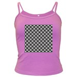 Modern Dots In Squares Mosaic Black White Dark Spaghetti Tank Front
