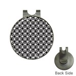Modern Dots In Squares Mosaic Black White Hat Clips with Golf Markers Front